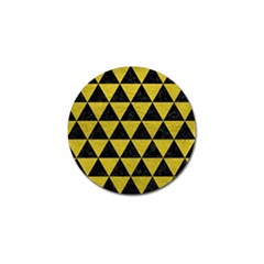 Triangle3 Black Marble & Yellow Leather Golf Ball Marker