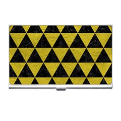 Triangle3 Black Marble & Yellow Leather Business Card Holders