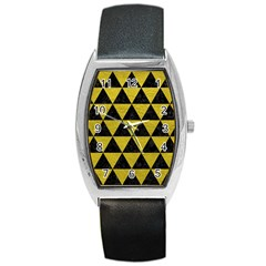 Triangle3 Black Marble & Yellow Leather Barrel Style Metal Watch