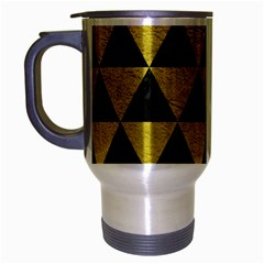 Triangle3 Black Marble & Yellow Leather Travel Mug (silver Gray)