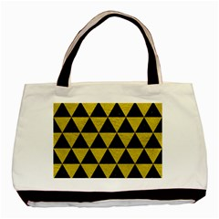 Triangle3 Black Marble & Yellow Leather Basic Tote Bag