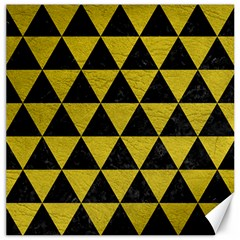 Triangle3 Black Marble & Yellow Leather Canvas 16  X 16