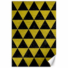 Triangle3 Black Marble & Yellow Leather Canvas 20  X 30