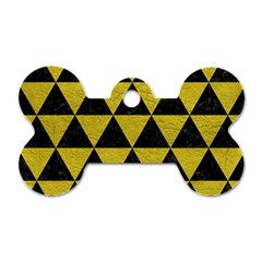 Triangle3 Black Marble & Yellow Leather Dog Tag Bone (one Side)