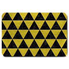 Triangle3 Black Marble & Yellow Leather Large Doormat