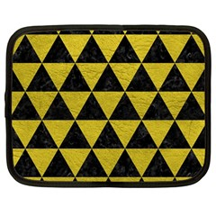 Triangle3 Black Marble & Yellow Leather Netbook Case (large)