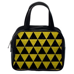 Triangle3 Black Marble & Yellow Leather Classic Handbags (one Side)