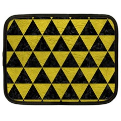 Triangle3 Black Marble & Yellow Leather Netbook Case (xxl)