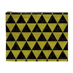 Triangle3 Black Marble & Yellow Leather Cosmetic Bag (xl)