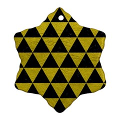Triangle3 Black Marble & Yellow Leather Ornament (snowflake)