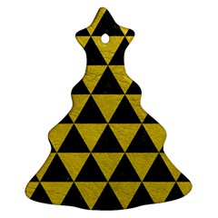 Triangle3 Black Marble & Yellow Leather Ornament (christmas Tree)