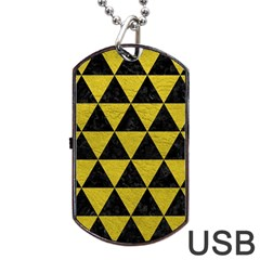 Triangle3 Black Marble & Yellow Leather Dog Tag Usb Flash (one Side)