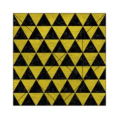 Triangle3 Black Marble & Yellow Leather Acrylic Tangram Puzzle (6  X 6 )