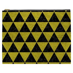 Triangle3 Black Marble & Yellow Leather Cosmetic Bag (xxxl)