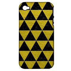 Triangle3 Black Marble & Yellow Leather Apple Iphone 4/4s Hardshell Case (pc+silicone)