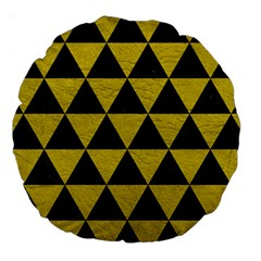 Triangle3 Black Marble & Yellow Leather Large 18  Premium Round Cushions