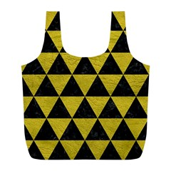 Triangle3 Black Marble & Yellow Leather Full Print Recycle Bags (l)