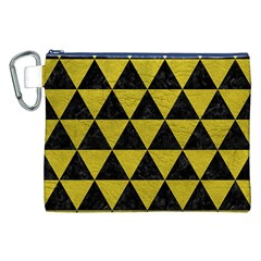 Triangle3 Black Marble & Yellow Leather Canvas Cosmetic Bag (xxl)
