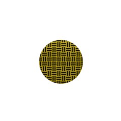 Woven1 Black Marble & Yellow Leather 1  Mini Magnets