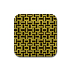 Woven1 Black Marble & Yellow Leather Rubber Square Coaster (4 Pack)