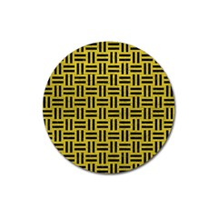 Woven1 Black Marble & Yellow Leather Magnet 3  (round)
