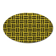 Woven1 Black Marble & Yellow Leather Oval Magnet