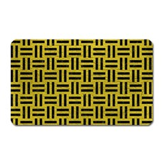 Woven1 Black Marble & Yellow Leather Magnet (rectangular)