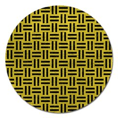Woven1 Black Marble & Yellow Leather Magnet 5  (round)