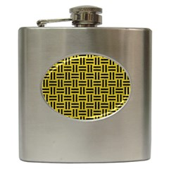 Woven1 Black Marble & Yellow Leather Hip Flask (6 Oz)