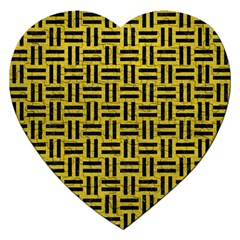 Woven1 Black Marble & Yellow Leather Jigsaw Puzzle (heart)