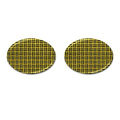 Woven1 Black Marble & Yellow Leather Cufflinks (oval)