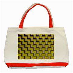Woven1 Black Marble & Yellow Leather Classic Tote Bag (red)