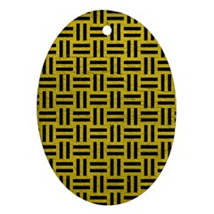 Woven1 Black Marble & Yellow Leather Oval Ornament (two Sides)