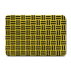 Woven1 Black Marble & Yellow Leather Small Doormat