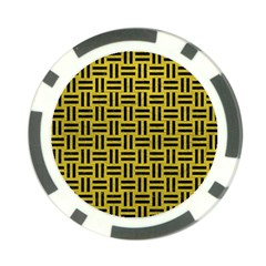 Woven1 Black Marble & Yellow Leather Poker Chip Card Guard