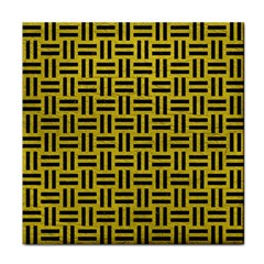 Woven1 Black Marble & Yellow Leather Face Towel