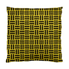 Woven1 Black Marble & Yellow Leather Standard Cushion Case (one Side)