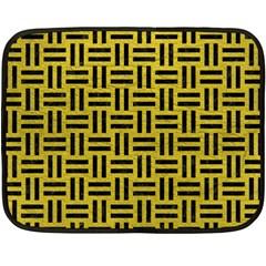 Woven1 Black Marble & Yellow Leather Double Sided Fleece Blanket (mini)
