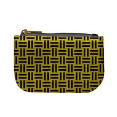 Woven1 Black Marble & Yellow Leather Mini Coin Purses