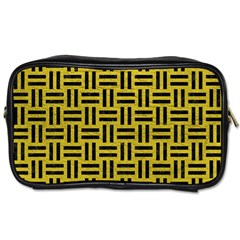 Woven1 Black Marble & Yellow Leather Toiletries Bags 2 Side