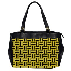 Woven1 Black Marble & Yellow Leather Office Handbags (2 Sides)