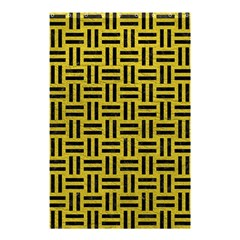 Woven1 Black Marble & Yellow Leather Shower Curtain 48  X 72  (small)
