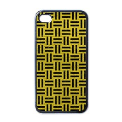 Woven1 Black Marble & Yellow Leather Apple Iphone 4 Case (black)