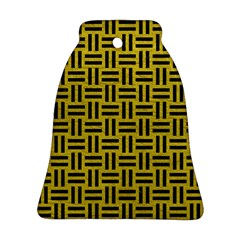 Woven1 Black Marble & Yellow Leather Ornament (bell)