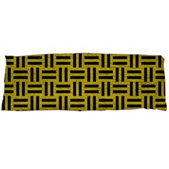 Woven1 Black Marble & Yellow Leather Body Pillow Case Dakimakura (two Sides)