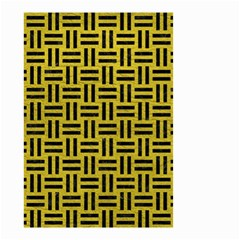 Woven1 Black Marble & Yellow Leather Small Garden Flag (two Sides)