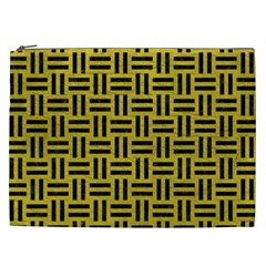 Woven1 Black Marble & Yellow Leather Cosmetic Bag (xxl)