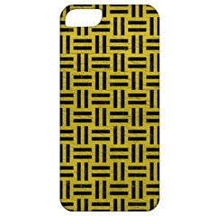 Woven1 Black Marble & Yellow Leather Apple Iphone 5 Classic Hardshell Case