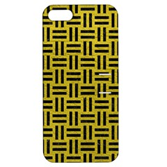 Woven1 Black Marble & Yellow Leather Apple Iphone 5 Hardshell Case With Stand