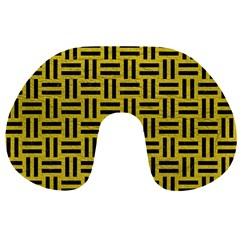 Woven1 Black Marble & Yellow Leather Travel Neck Pillows